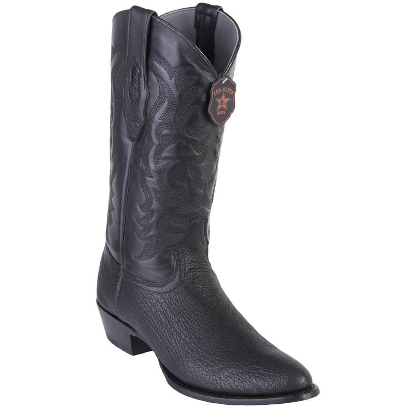 Los Altos Boots Mens #659305 Round Toe | Genuine Sharkskin Boots Handmade | Color Black
