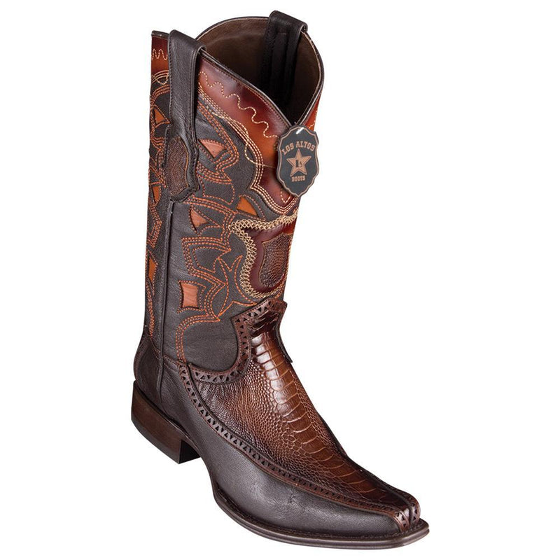 Los Altos Boots Mens #76F0516 European Square Toe | Genuine Ostrich Leg With Deer Sides Boots | Color Faded Brown