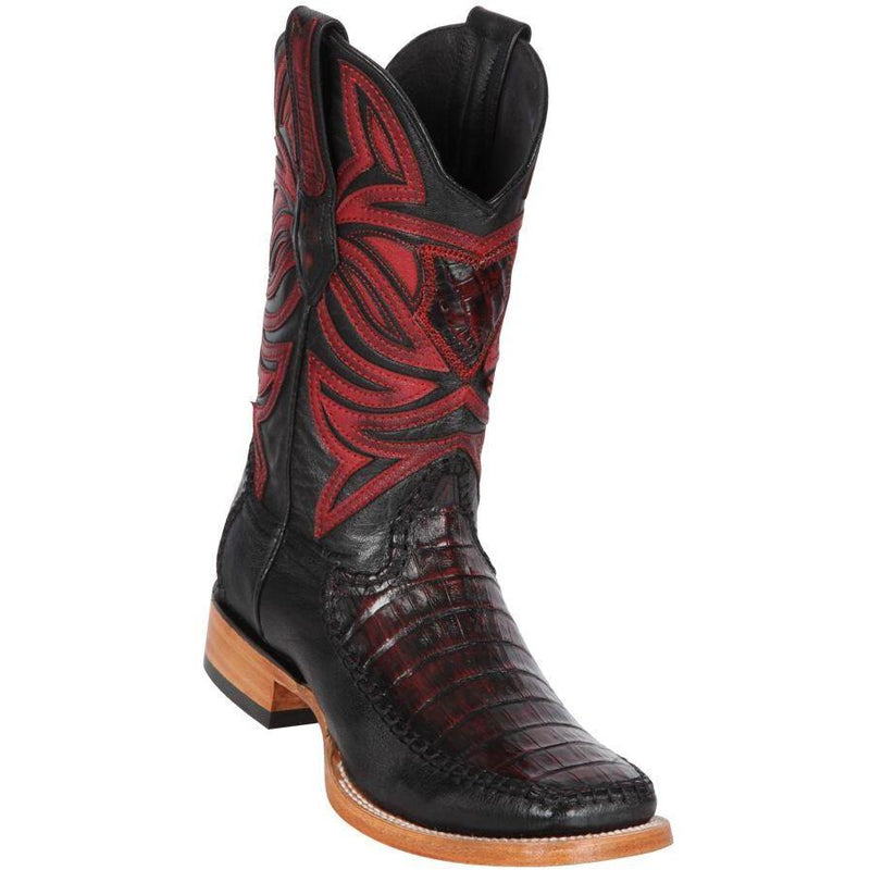 Los Altos Boots Mens #82F8218 Wide Square Toe | Genuine Caiman Belly & Deer Boots | Color Black Cherry