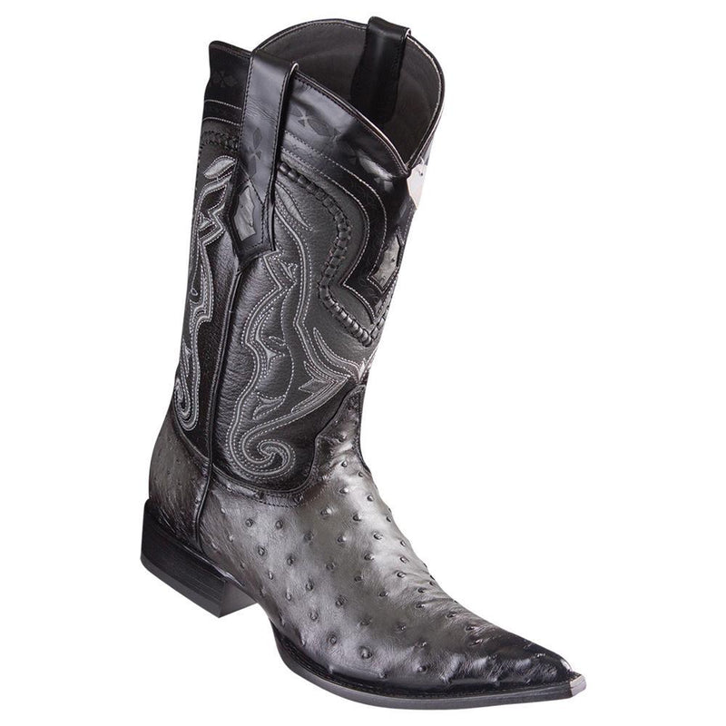 Los Altos Boots Mens #9530338 3X Toe | Genuine Ostrich Leather Boots | Color Faded Gray