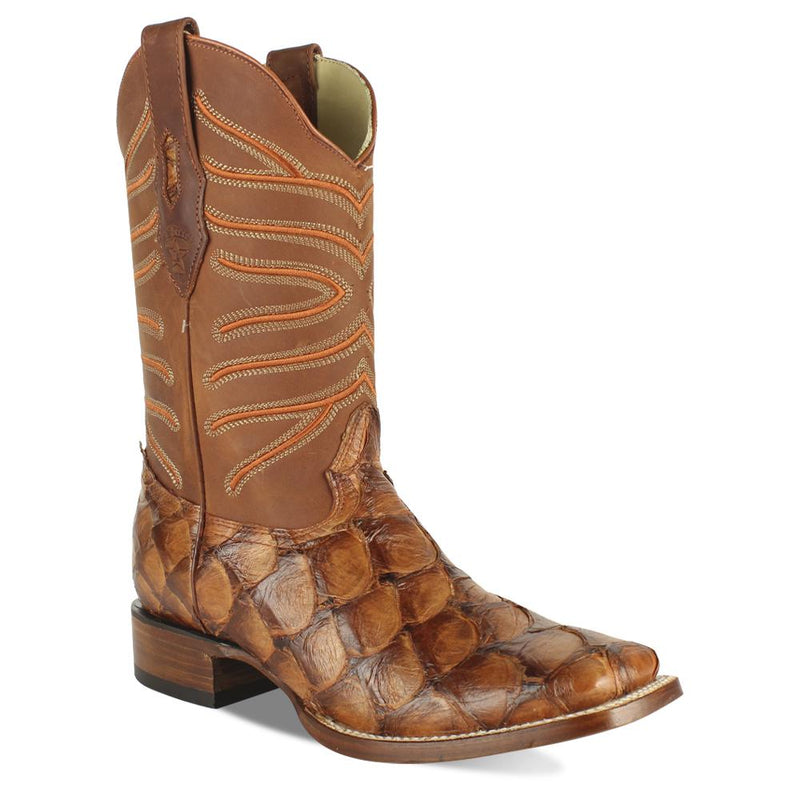 Los Altos Boots Mens #8221050 Wide Square Toe | Genuine Pirarucu Fish Boots | Color Chedron