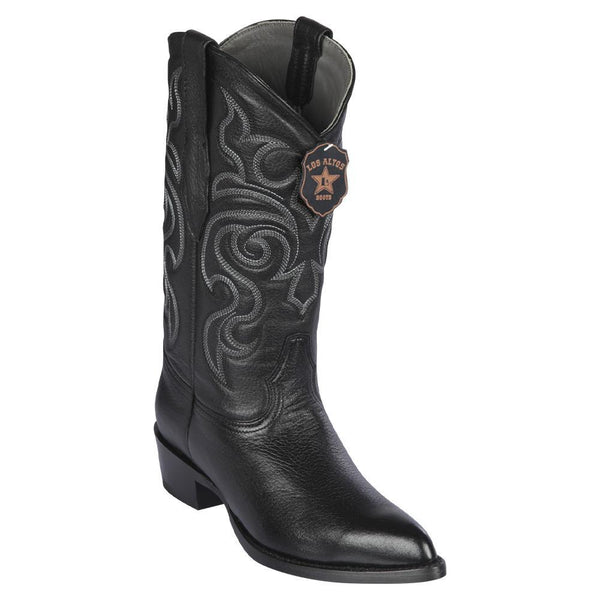 Los Altos Boots Mens #995105 J Toe | Genuine Elk Leather Boots | Color Black