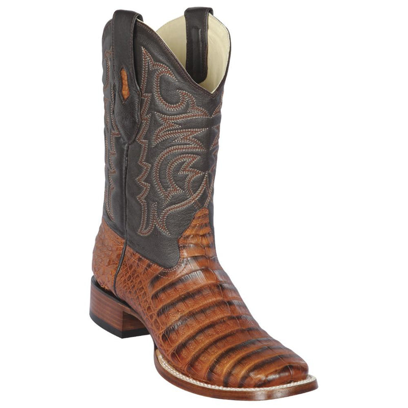 Los Altos Boots Mens #8228251 Wide Square Toe | Genuine Caiman Belly Leather Boots | Color Porto Honey