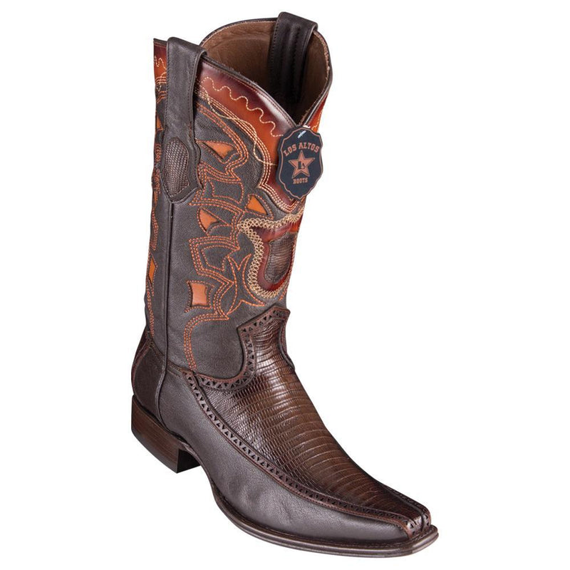 Los Altos Boots Mens #76F0716 European Square Toe | Genuine Lizard With Deer Sides Boots | Color Faded Brown