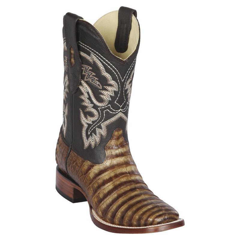 Los Altos Boots Mens #8228283 Wide Square Toe | Genuine Caiman Belly Leather Boots | Color Porto Oryx