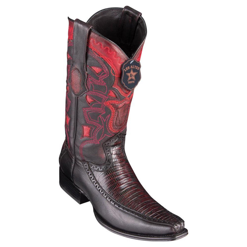 Los Altos Boots Mens #76F0718 European Square Toe | Genuine Lizard With Deer Sides Boots | Color Black Cherry