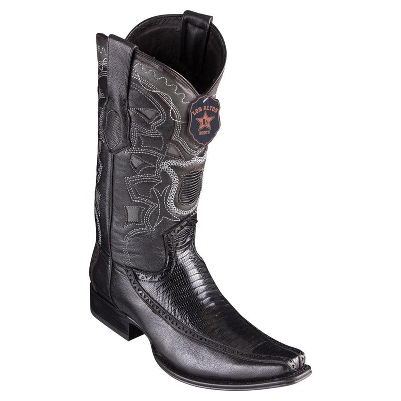 Los Altos Boots Mens #76F0705 European Square Toe | Genuine Lizard With Deer Sides Boots | Color Black