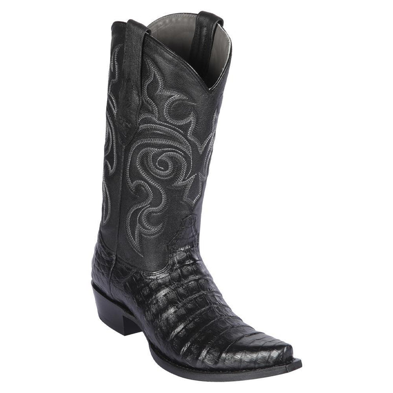 Los Altos Boots Mens #948205 Snip Toe | Genuine Caiman Belly Boots | Color Black