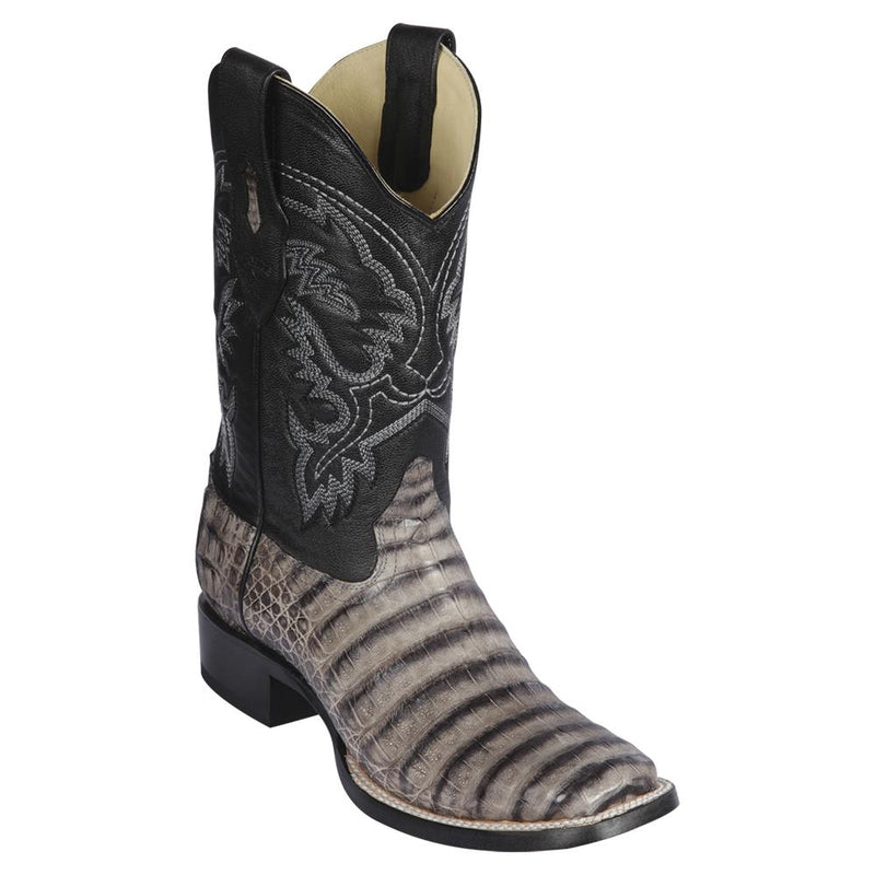 Los Altos Boots Mens #8228233 Wide Square Toe | Genuine Caiman Belly Leather Boots | Color Porto Gray