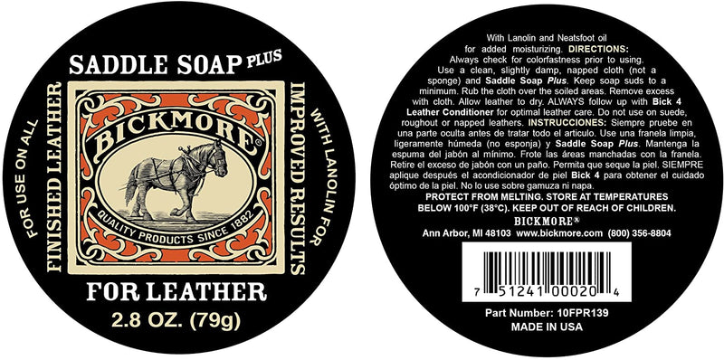 Bickmore | Saddle Soap Plus | Leather Cleaner & Conditioner with Lanolin