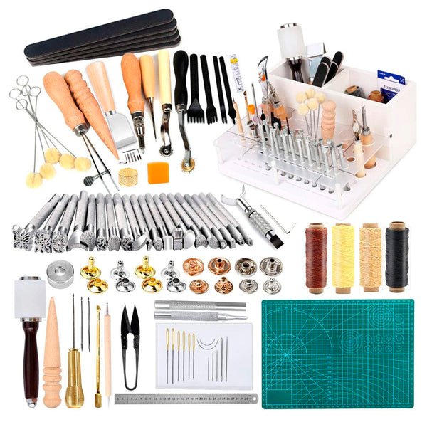 Leather Working Tools Kit - Leathercraft Kit Include Leather Tool Holder