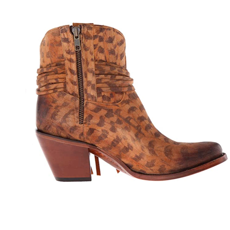 Lucchese Classics Women's Robyn-Tan Printed Sde Shorty with Fringe Ankle Bootie