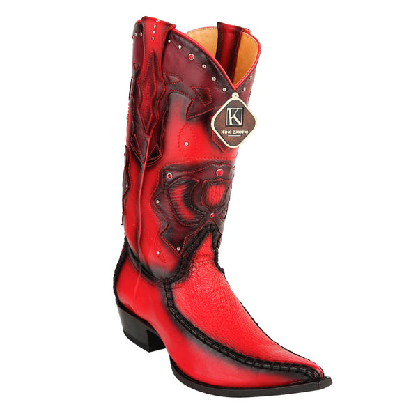 Men's King Exotic Genuine Sharkskin Boots 3x Toe Burnished Red (495v20912)