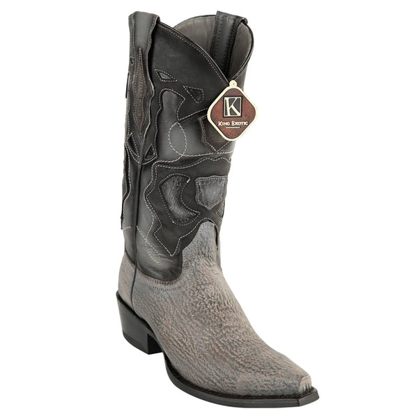 Men's King Exotic Snip Toe Sharkskin Boots Handcrafted Gray (494R0909)