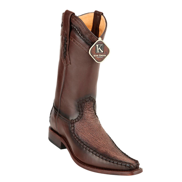 Mens King Exotic Sharkskin European Toe Boots - Brown (477bd0907)