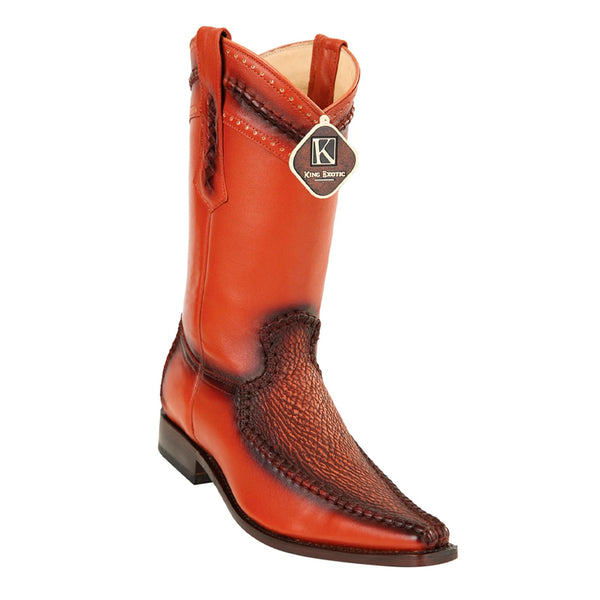 Mens King Exotic Sharkskin European Toe Boots - Cognac (477bd0903)