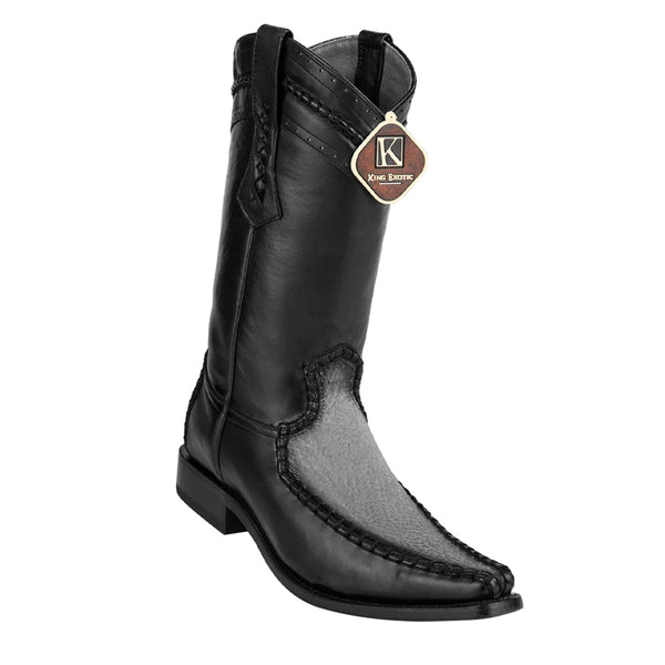 Mens King Exotic Sharkskin European Toe Boots - Black (477bd0905)