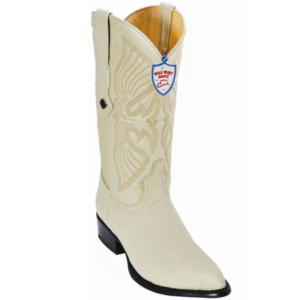 Men's Wild West Genuine Elk Leather J Toe Boots Handmade Winterwhite (2995104)