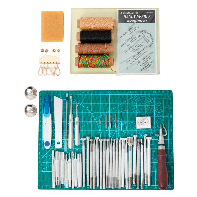Leathercraft Working Tools Kit, Leather Craft Stamping Tools with Cutting Mat