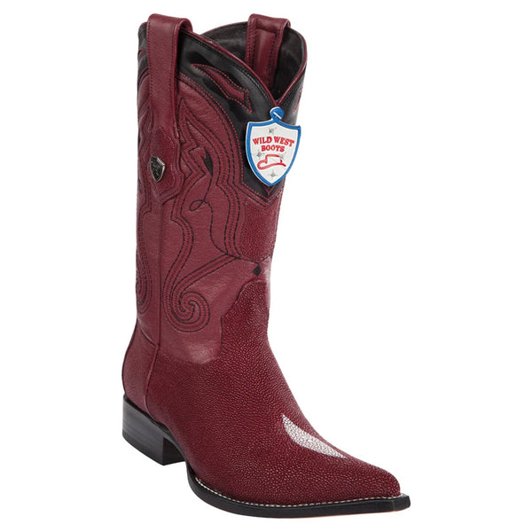 Wild West Boots #2951206 Men's | Color Burgundy | Men's Wild West Single Stone Stingray 3x Toe Boots Handmade