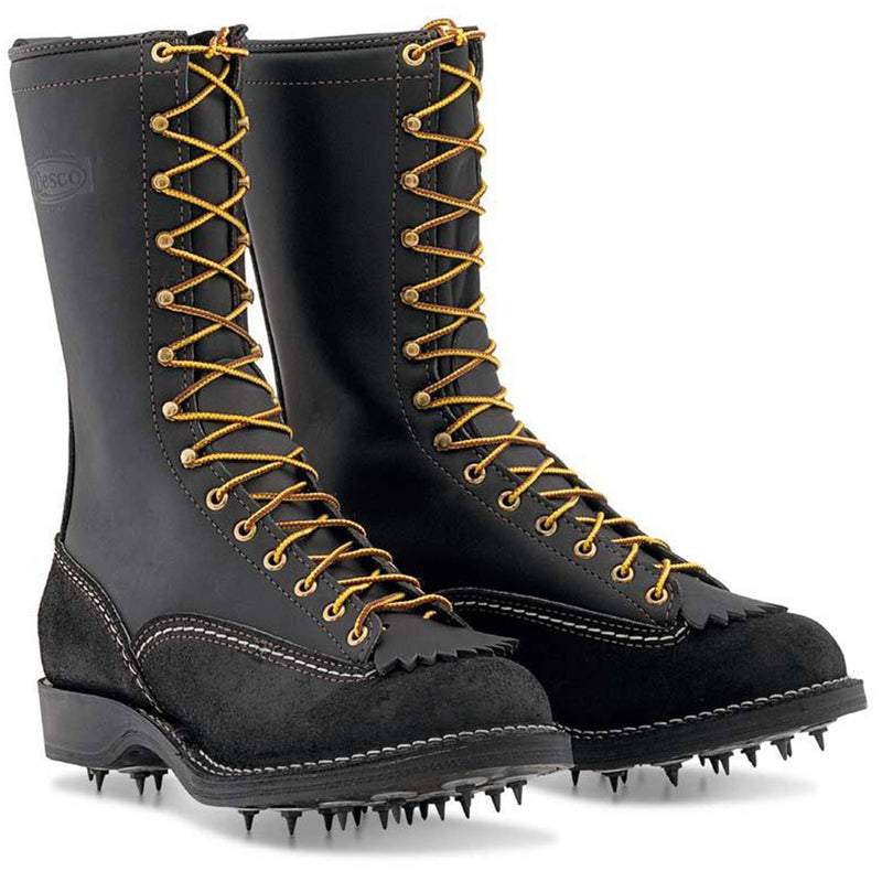 Wesco 'TIMBER' 1912SI Men's Logger Boot Black Leather Replaceable Calks Sole 12″ Height