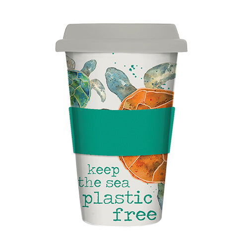 Milly Green Turtle Bamboo Travel Mug