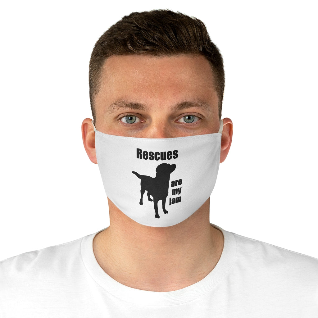 Rescues are my jam (Dog) Poly Face Mask