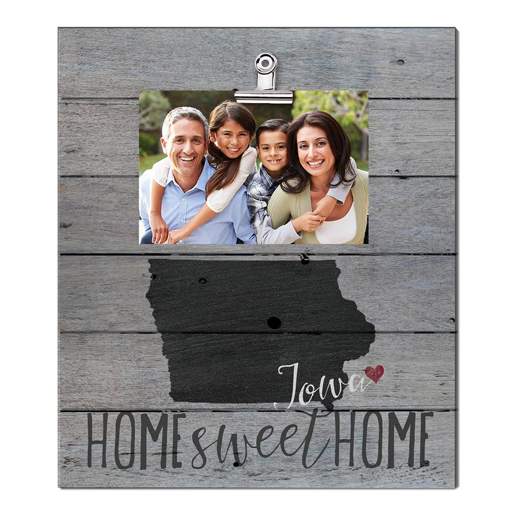 Home Sweet Home Iowa Weathered Clip Photo Frame