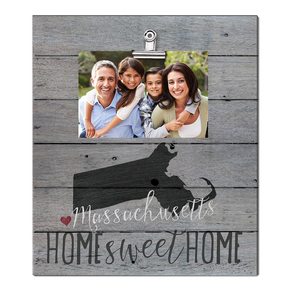 Home Sweet Home Massachusetts Weathered Clip Photo Frame