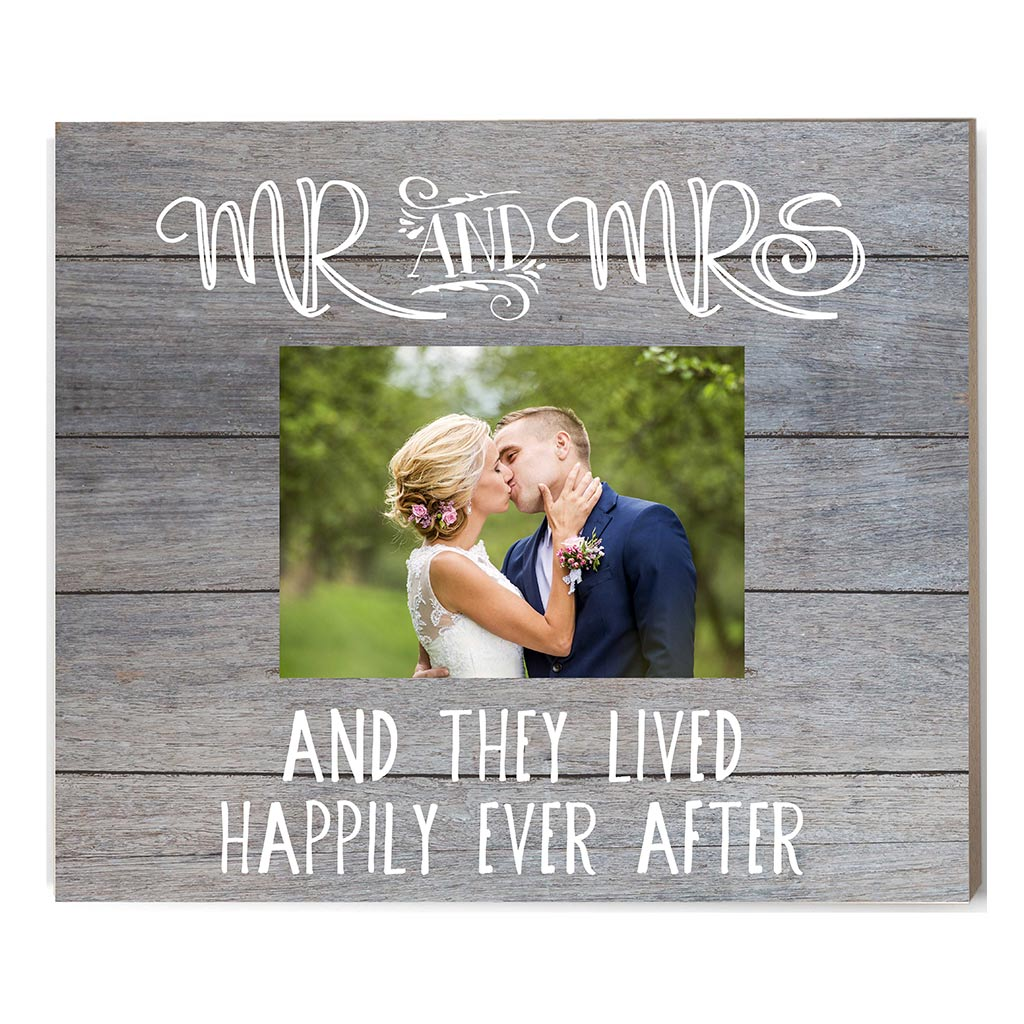 Gray Slat Photo Frame Mr. and Mrs.