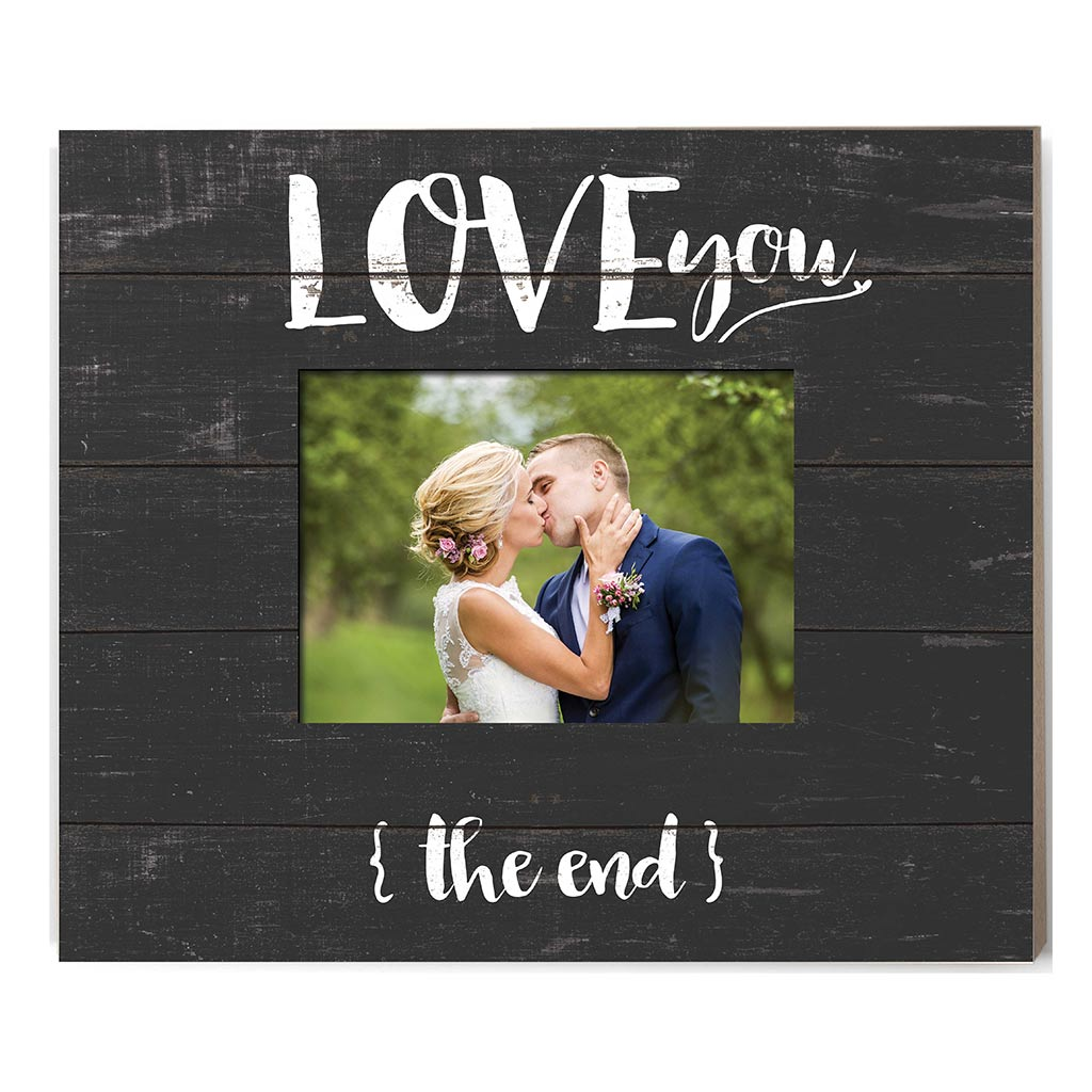 Weathered Charcoal Slat Photo Frame Love You