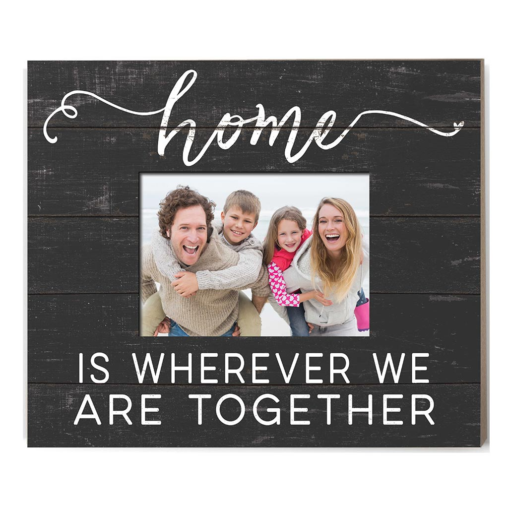 Weathered Charcoal Slat Photo Frame Home is Where
