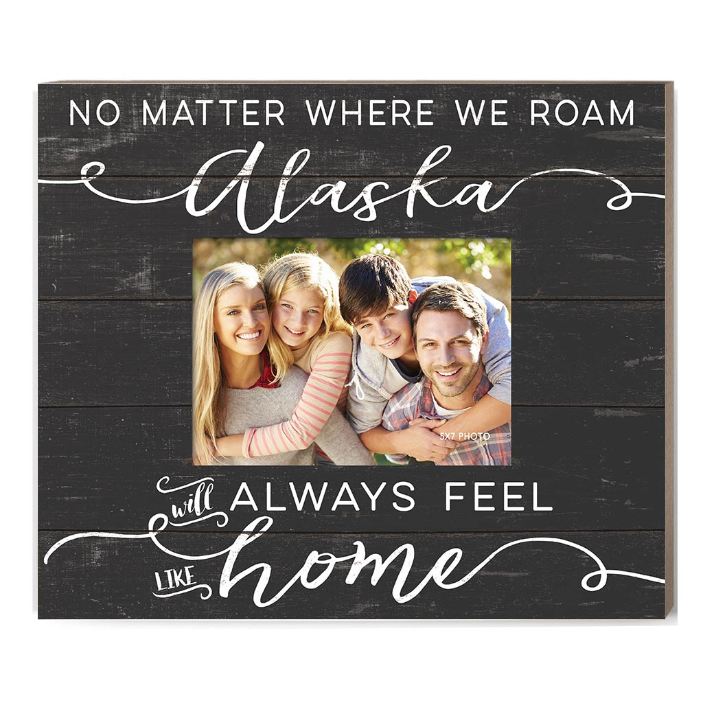 Weathered Charcoal Slat Photo Frame Feels Like Home Alaska
