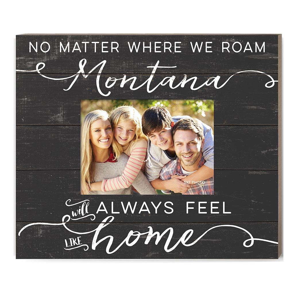 Weathered Charcoal Slat Photo Frame Feels Like Home Montana