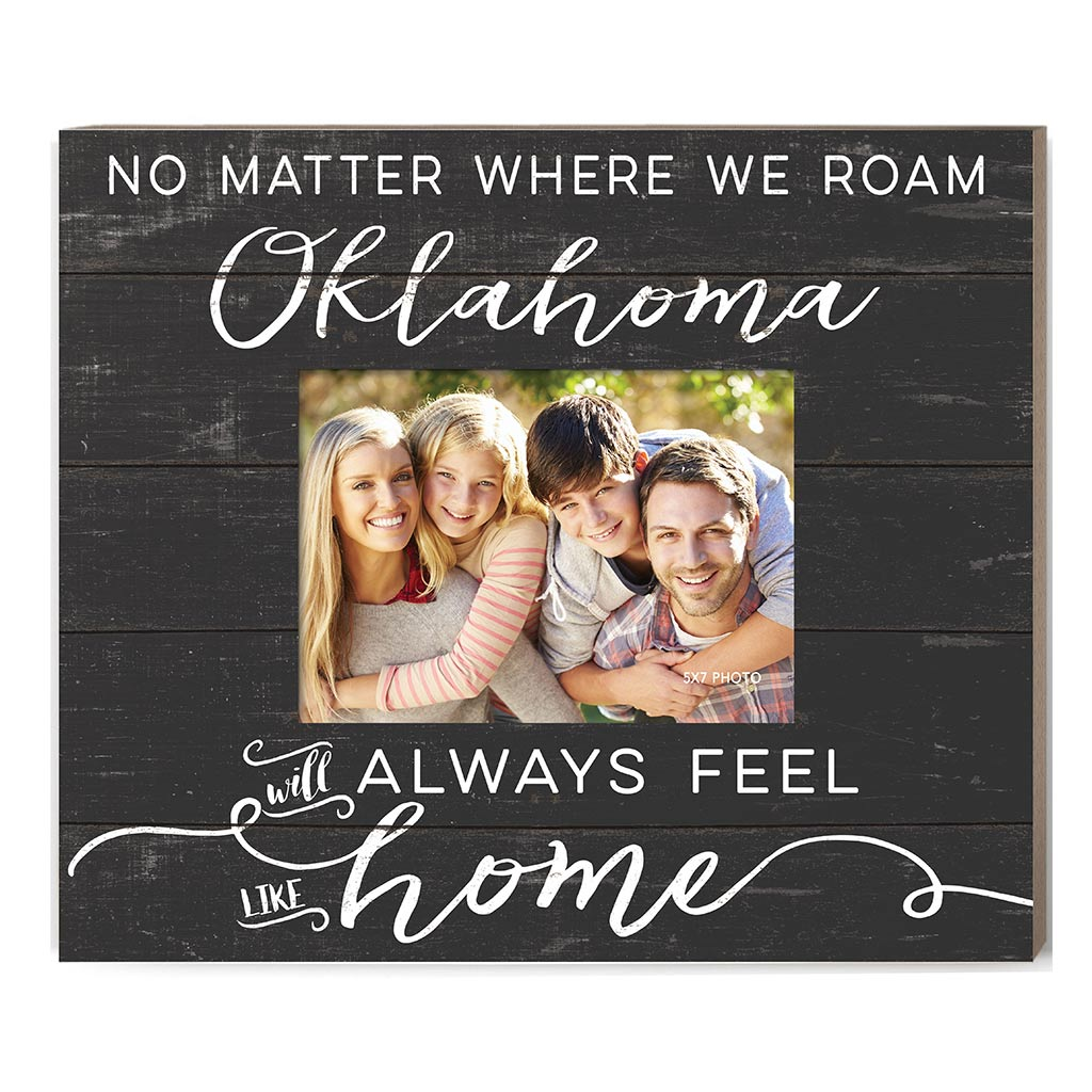 Weathered Charcoal Slat Photo Frame Feels Like Home Oklahoma