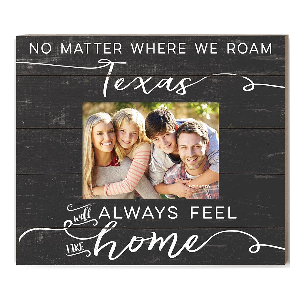Weathered Charcoal Slat Photo Frame Feels Like Home Texas