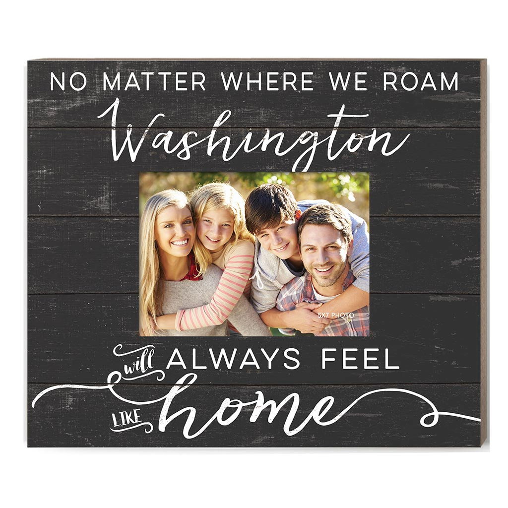 Weathered Charcoal Slat Photo Frame Feels Like Home Washington