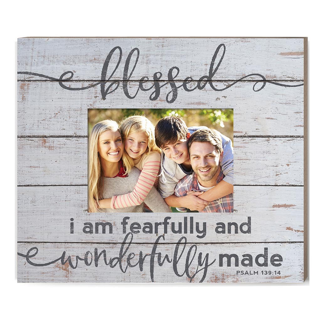 Weathered Whitewash Slat Photo Frame Blessed Fearfully Wonderfully Made