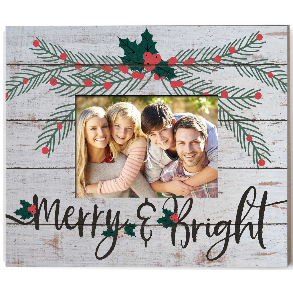 Weathered Whitewash Slat Photo Frame Merry and Bright