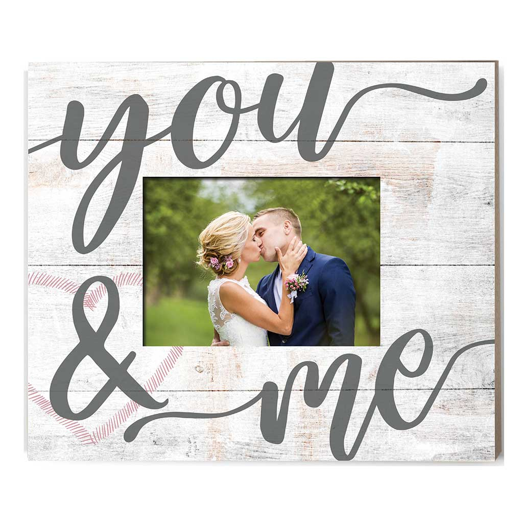 Weathered Whitewash Slat Photo Frame You and Me Heart