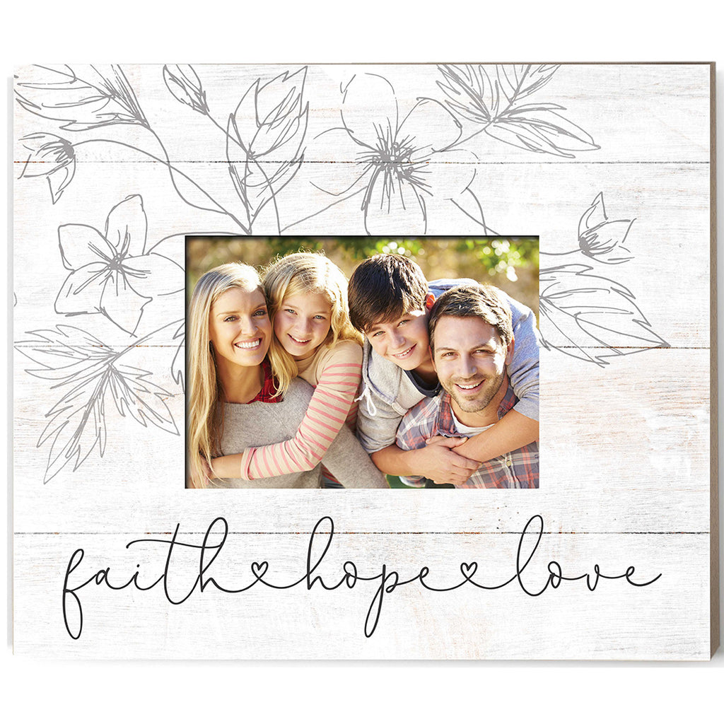 Weathered Whitewash Slat Photo Frame Faith Hope Love with Foliage
