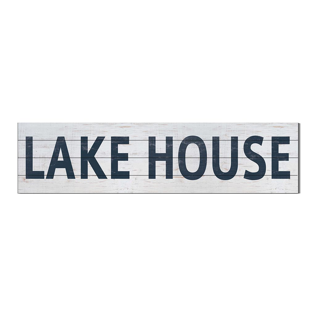 40x10 Whitewash Slat Sign LAKE HOUSE