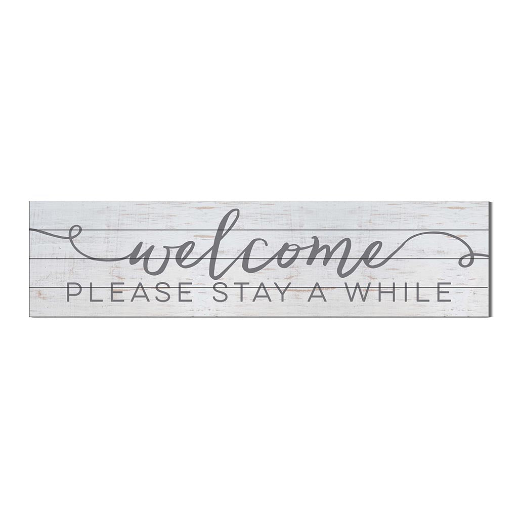 40x10 Whitewash Slat Sign Welcome Please Stay