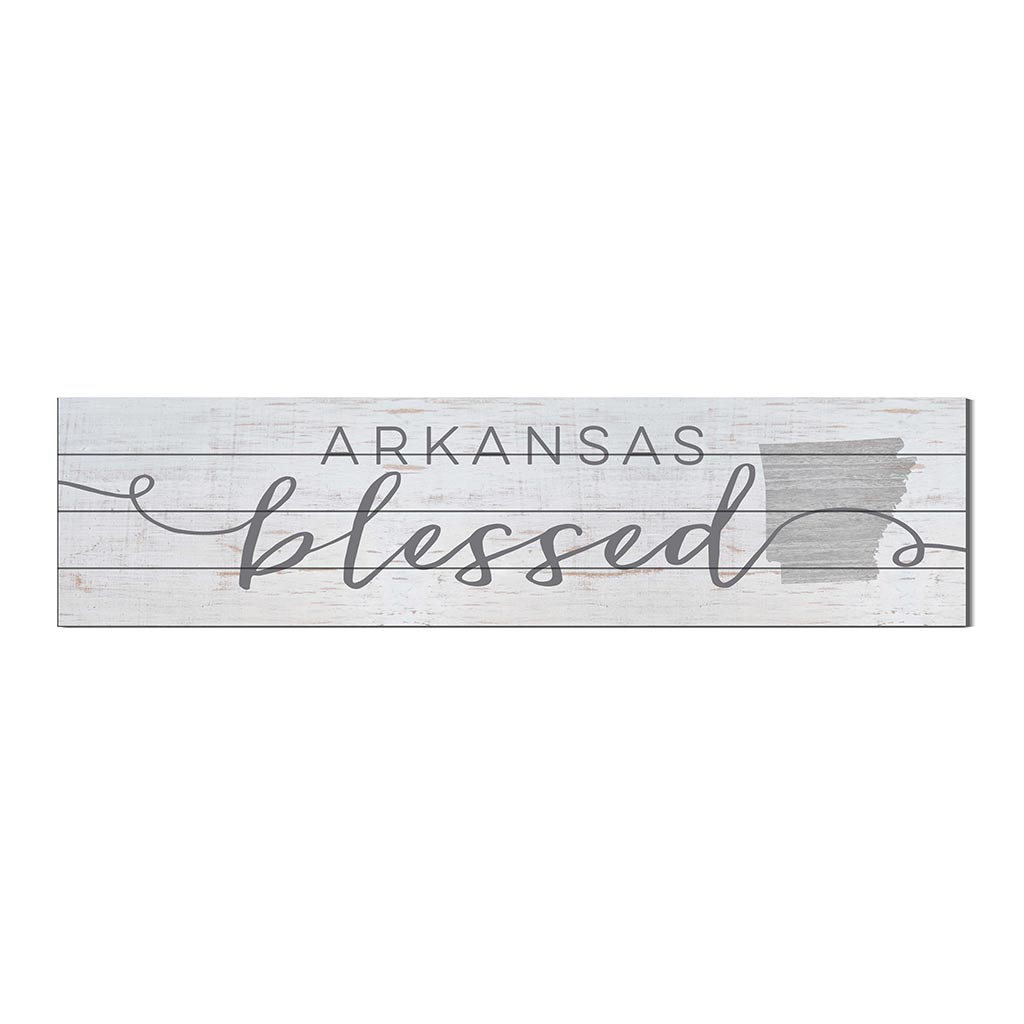 40x10 Whitewash Slat Sign State Blessed Arkansas