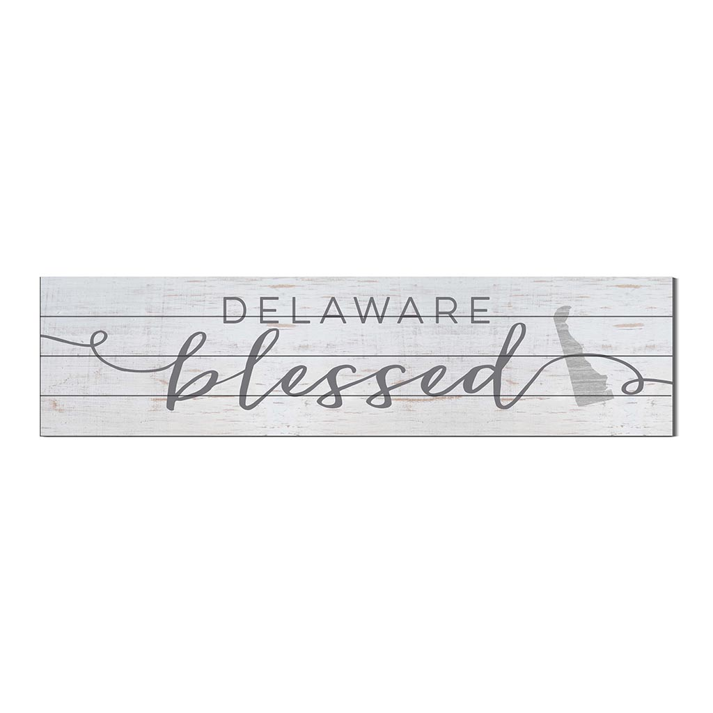 40x10 Whitewash Slat Sign State Blessed Delaware