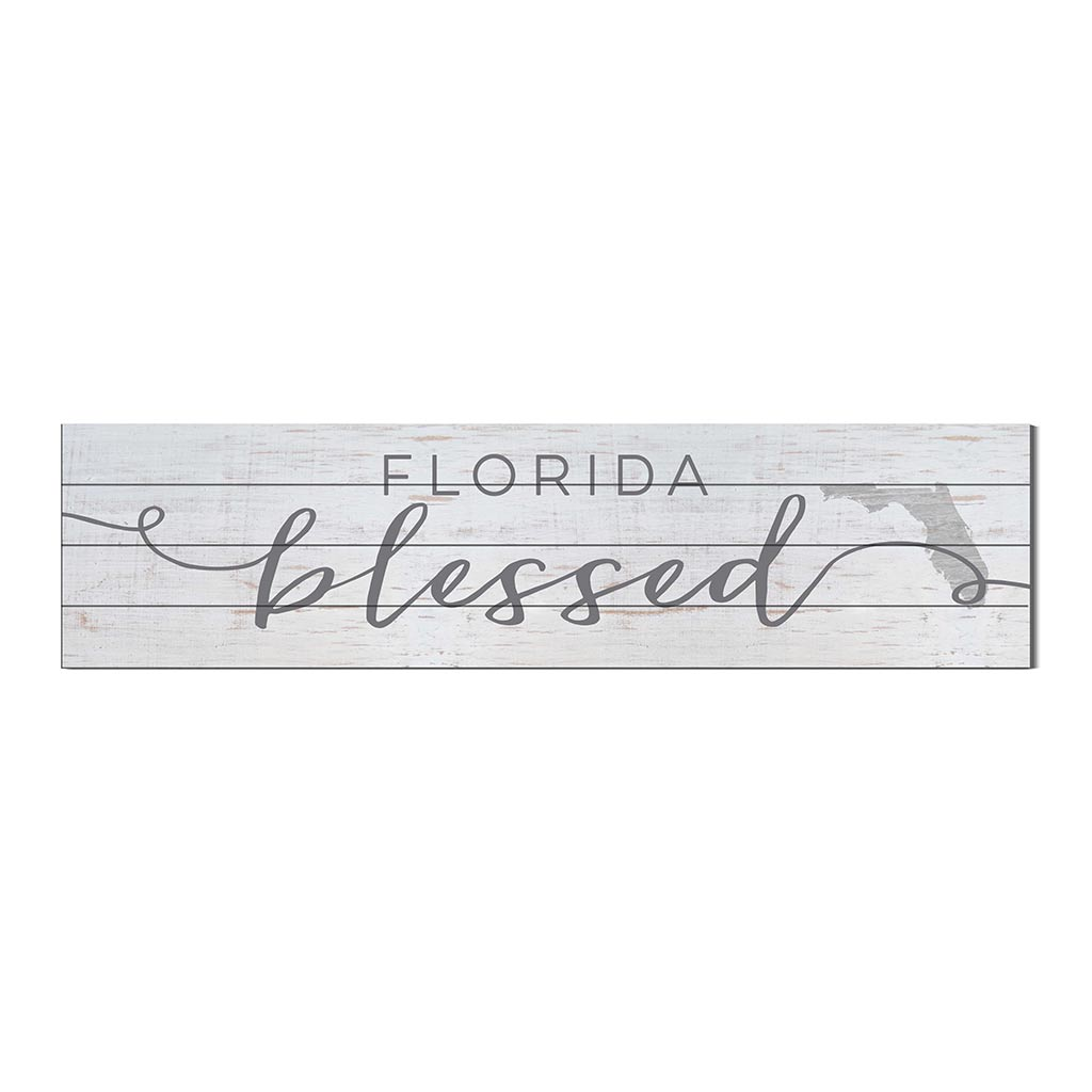 40x10 Whitewash Slat Sign State Blessed Florida