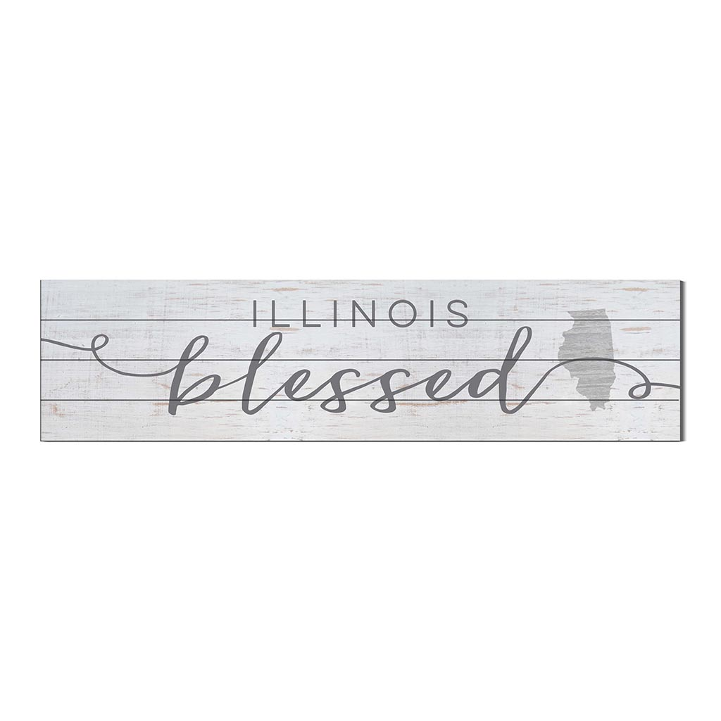 40x10 Whitewash Slat Sign State Blessed Illinois