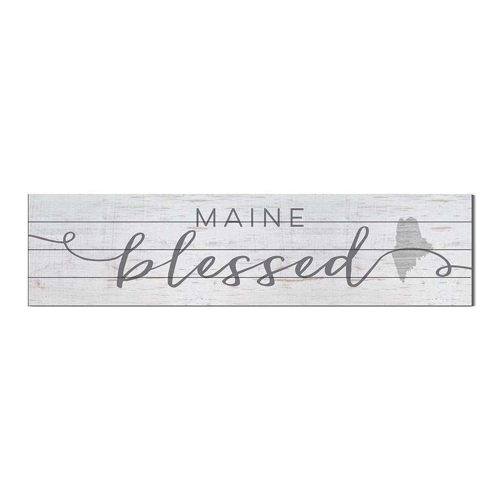 40x10 Whitewash Slat Sign State Blessed Maine