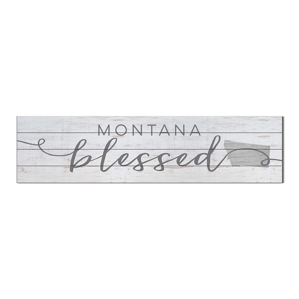 40x10 Whitewash Slat Sign State Blessed Montana