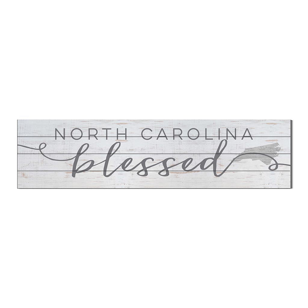 40x10 Whitewash Slat Sign State Blessed North Carolina